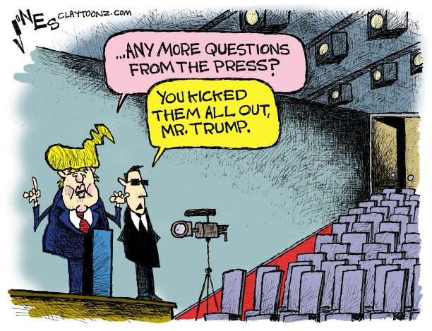Image result for trump press  political cartoon