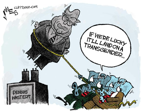 Bush's party on paedophilia, cartoon